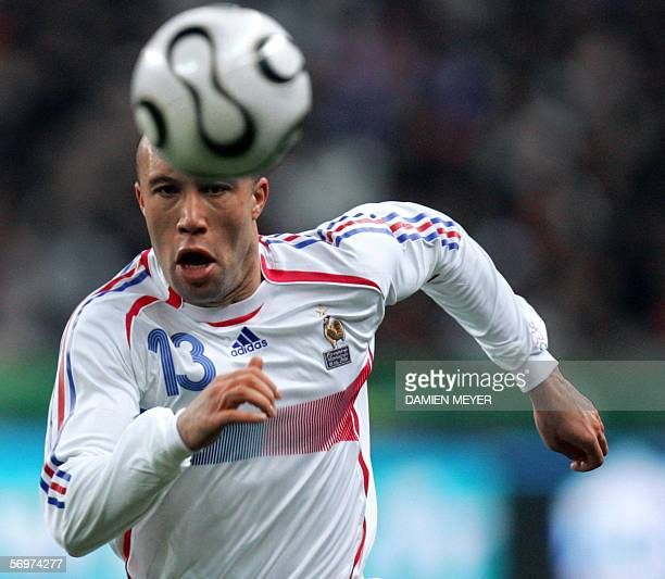 France's midfielder Mickael Sylvestre runs behind the ball during the friendly football match France vs Slovakia as part of France's Fifa World Cup...