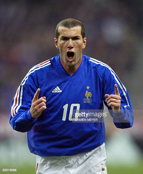 French midfielder Zinedine Zidane jubilates during the friendly soccer match France vs Scotland at the Stade de France in Saint-Denis north of Paris...