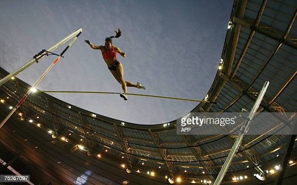 Russian Yelena Isinbayeva fails to break the 502m world record during the women pole vault at the IAAF Golden League athletics meeting 06 July 2007...
