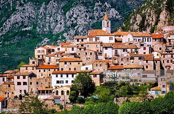 sainte agnes village, france - sainte agnès french riviera stock photos and pictures