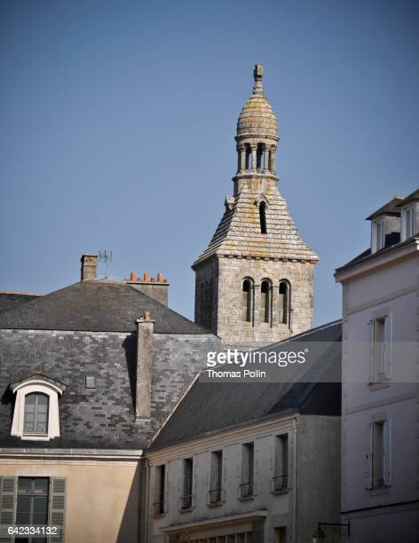 sainte-croix bell tower - brittany bell stock photos and pictures