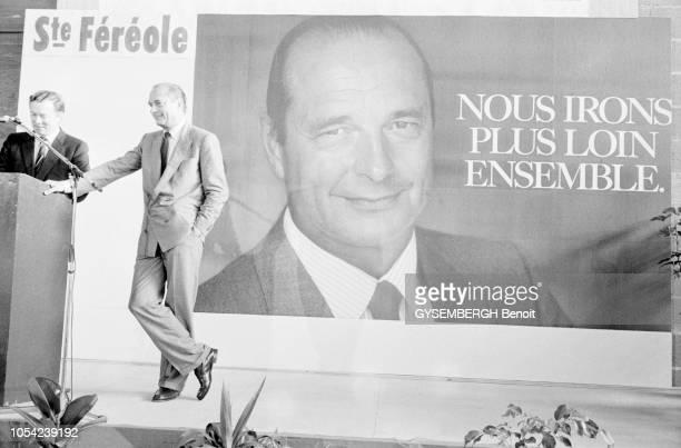 SainteFéréole Corrèze France avril 1988 Election présidentielle des 24 avril et 8 mai 1988 Campagne électorale de Jacques CHIRAC candidat du RPR Ici...