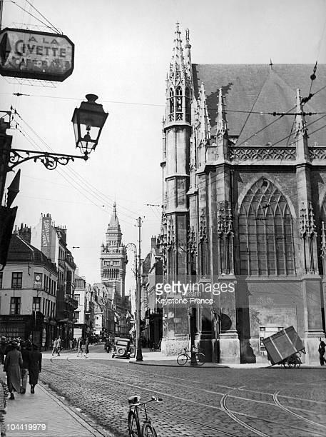 SaintEloi Church And Belfry Of Dunkerque Circa 1937