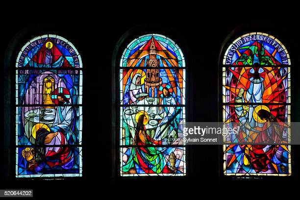 sainte-marie madeleine cave in sainte baume massif - stained glass stock pictures, royalty-free photos & images