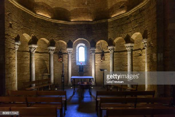 saintes maries de la mer, interior of the holy church s.ta maria and sarah - crypt stock photos and pictures