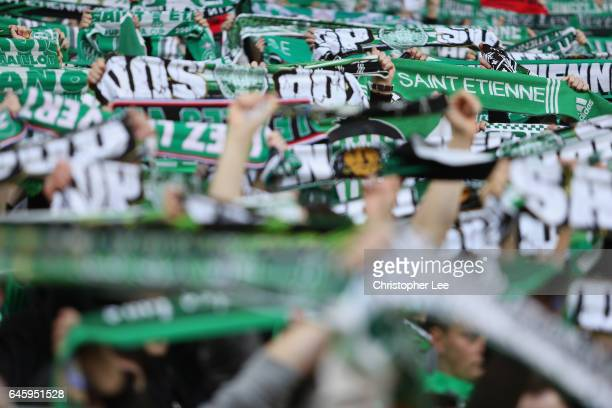 Saint-Etienne fans during the UEFA Europa League Round of 32 second leg match between AS Saint-Etienne and Manchester United at Stade...