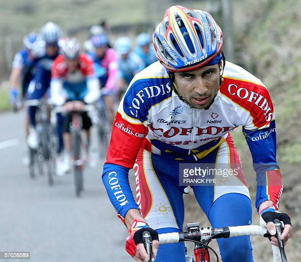 French David Moncoutie rides in the leading pack during the third stage of the 64th edition of the Paris/Nice cycling race between Julienas and...