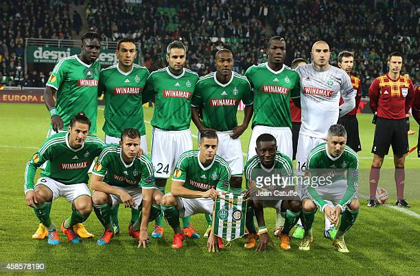 SaintEtienne players pose for a team picture prior to the UEFA Europa League Group F match between AS SaintEtienne and FC Internazionale Milano on...