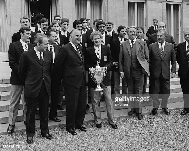 AS SaintEtienne team is received at the Elysee Palace after winning both the French Championship and Cup First row Josephe Comiti Minister of youth...