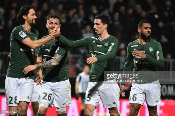 SaintEtienne's Bosnia and Herzegovina defender Neven Subotic SaintEtienne's French defender Mathieu Debuchy SaintEtienne's French midfielder Vincent...