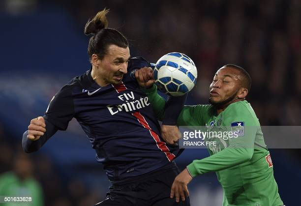 SaintEtienne's defender PierreYves Polomat vies with Paris SaintGermain's Swedish forward Zlatan Ibrahimovic during the French League Cup football...