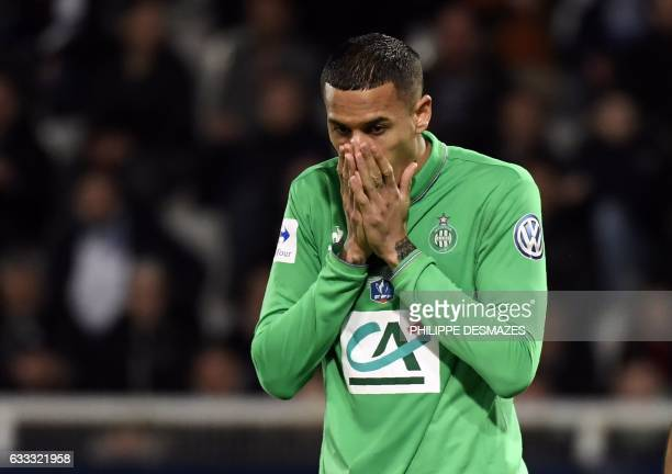 SaintEtienne's French defender Leo Lacroix reacts after losing a goal during the French Cup football match between AJ Auxerre and AS SaintEtienne on...