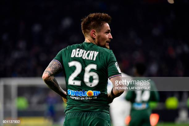 SaintEtienne's French defender Mathieu Debuchy celebrates after scoring a goal during the French L1 football match between Lyon and SaintEtienne on...