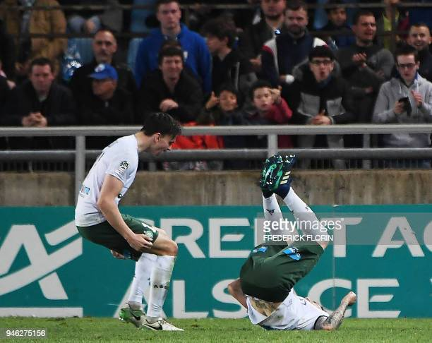 Saint-Etienne's French defender Mathieu Debuchy celebrates after scoring a goal during the French L1 football match between Strasbourg and...