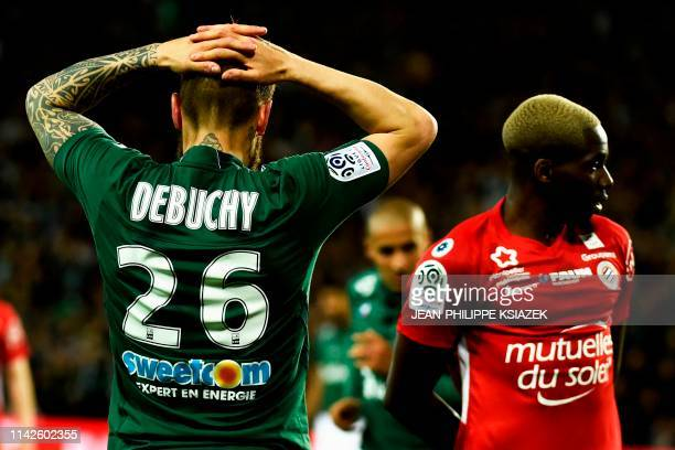 SaintEtienne's French defender Mathieu Debuchy reacts during the French L1 football match between SaintEtienne and Montpellier on May 10 at the...