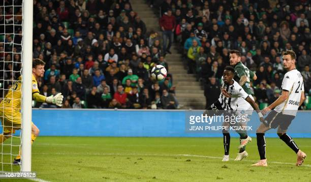 Saint-Etienne's French defender Mathieu Debuchy scores a goal during the French L1 football match between Saint-Etienne and Angers on November 4 at...