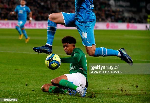 Saint-Etienne's French defender Wosley Fofana vies for the ball with Marseille's Serbian forward Nemanja Radonjic during the French L1 football match...