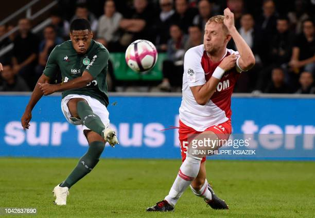 SaintEtienne's French forward Arnaud Nordin kicks the ball during the French L1 football match SaintEtienne vs Monaco on September 28 at the Geoffroy...