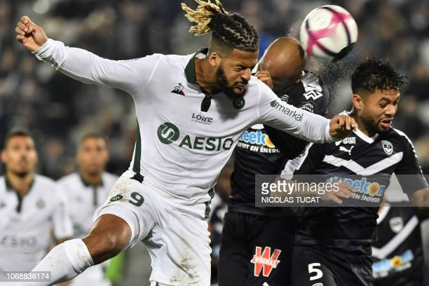 Saint-Etienne's French forward Lois Diony vies with Bordeaux's Brazilian midfielder Otavio during the French L1 football match between FC Girondins...