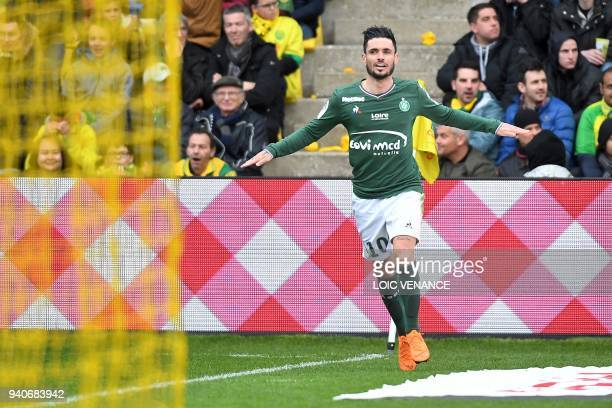 SaintEtienne's French forward Remy Cabella celebrates after scoring a second goal during the French L1 football match between Nantes and SaintEtienne...