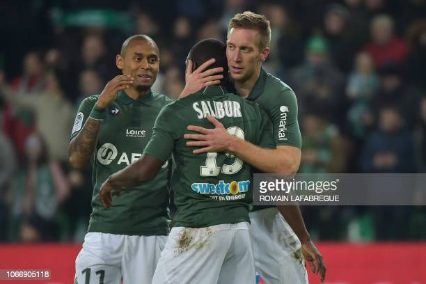 SaintEtienne's French forward Robert Beric celebrates with teammates after scoring a goal during the French L1 football match between SaintEtienne...