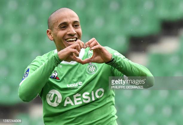 Saint-Etienne's French forward Wahbi Kahzr celebrates after scoring a goal during the French L1 football match between AS Saint-Etienne and FC...