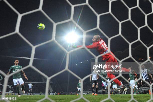 SaintEtienne's French goalkeeper Stephane Ruffier catches the ball during the French L1 football match between Angers and SaintEtienne on February 17...