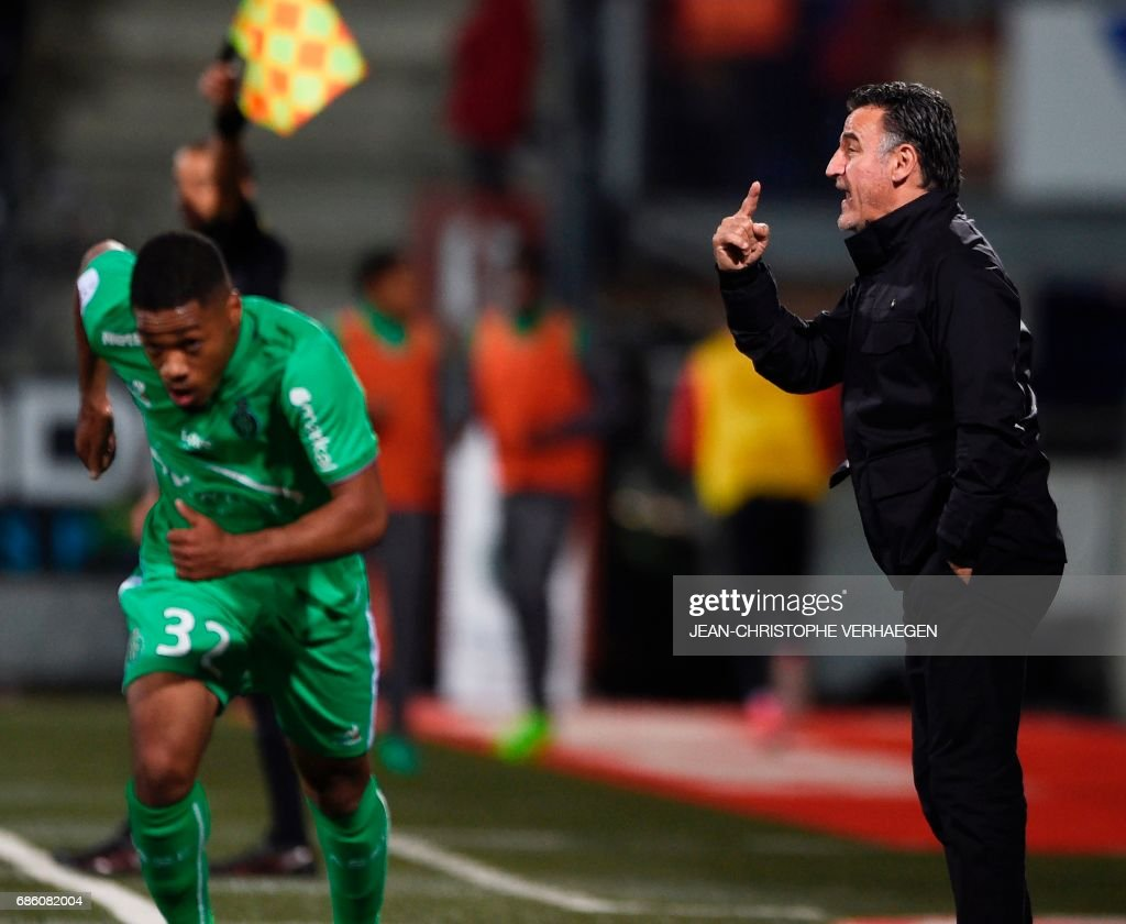 Saint-Etienne's French head coach Christophe Galtier gestures during the French L1 football match between Nancy (ASNL) and Saint-Etienne (ASSE) on May 20, 2017 at Marcel Picot stadium in Tomblaine, eastern France. /