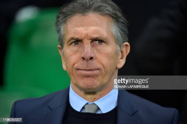Saint-Etienne's French head coach Claude Puel looks on during the French L1 football match between AS Saint-Etienne and Nimes Olympique at the...