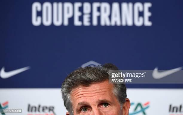 SaintEtienne's French head coach Claude Puel reacts during a press conference at the Stade de France in SaintDenis on the outskirts of Paris on July...