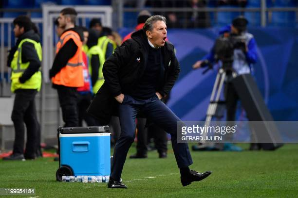 SaintEtienne's French head coach Claude Puel reacts during the French L1 football match between Montpellier and SaintEtienne on February 9 at the...