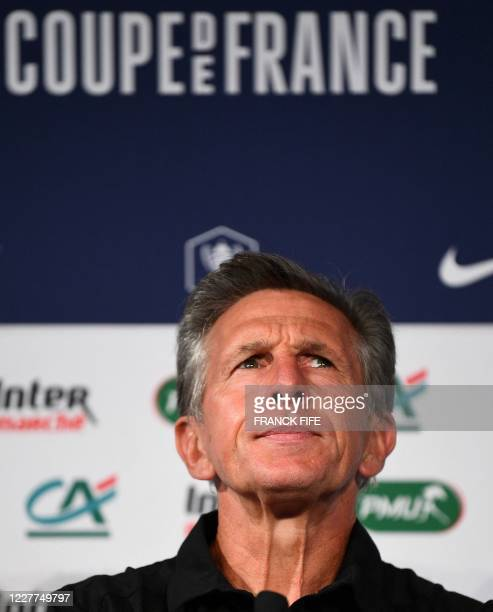 SaintEtienne's French headcoach Claude Puel looks on during a press conference at the Stade de France in SaintDenis on the outskirts of Paris on July...