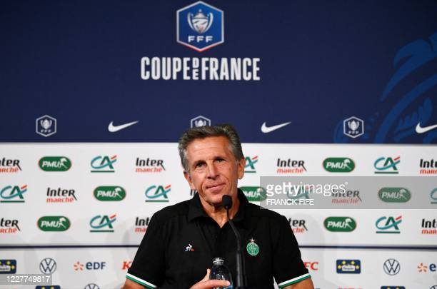 SaintEtienne's French headcoach Claude Puel reacts during a press conference at the Stade de France in SaintDenis on the outskirts of Paris on July...