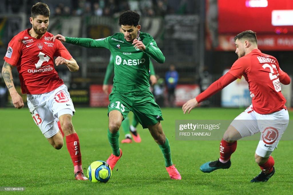 Saint Etienne s French Midfielder Bilal Benkhedim Vies With Brest s News Photo Getty Images
