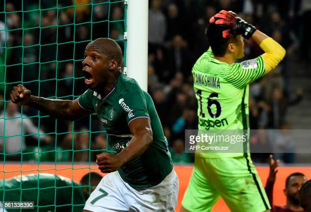 SaintEtienne's French midfielder Bryan Dabo celebrates after scoring a goal during the French Ligue 1 football match SaintEtienne vs Metz on October...