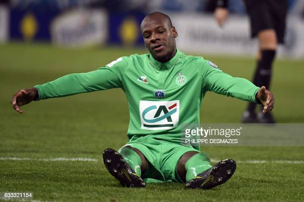 SaintEtienne's French midfielder Bryan Dabo reacts after losing a goal during the French Cup football match between AJ Auxerre and AS SaintEtienne on...