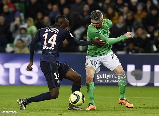 SaintEtienne's French midfielder Fabien Lemoine vies with Paris SaintGermain's French midfielder Blaise Matuidi during the Ligue1 football match...