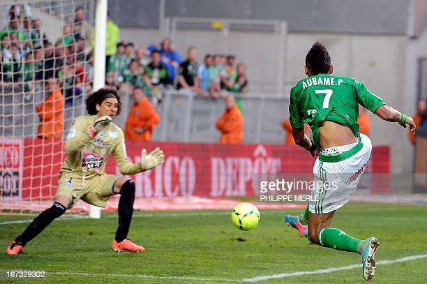 SaintEtienne's Gabonese forward PierreEme Aubameyang kicks to score a goal during the French L1 football match SaintEtienne vs Ajaccio on April 24...