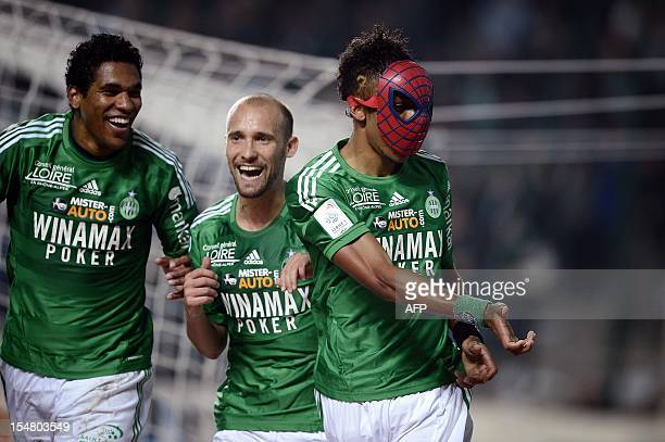 SaintEtienne's Gabonese forward PierreEmerick Aubameyang wears a spiderman mask after scoring a goal during the French L1 football match AS...