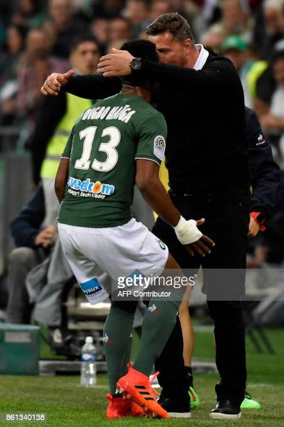 SaintEtienne's Ivorian midfielder Habib Maiga celebrates after scoring a goal during the French Ligue 1 football match SaintEtienne vs Metz on...