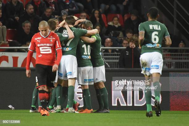 SaintEtienne's players celebrate after a goal by Serbian defender Neven Subotic during the French L1 football match between Rennes and SaintEtienne...