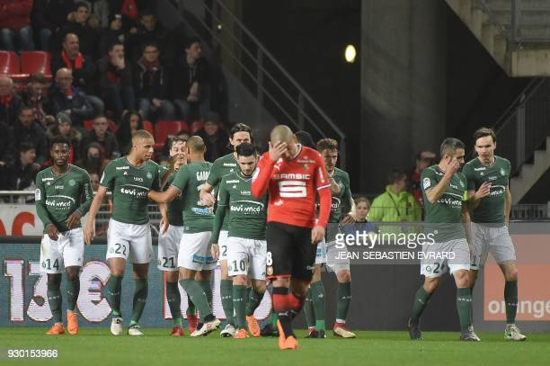 SaintEtienne's players celebrate celebrates after a goal by Serbian defender Neven Subotic during the French L1 football match between Rennes and...