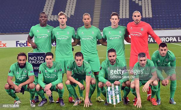 AS SaintEtienne's players pose for a team photo before their UEFA Europa League Group G football match FC Dnipro vs AS SaintEtienne at the Dnipro...