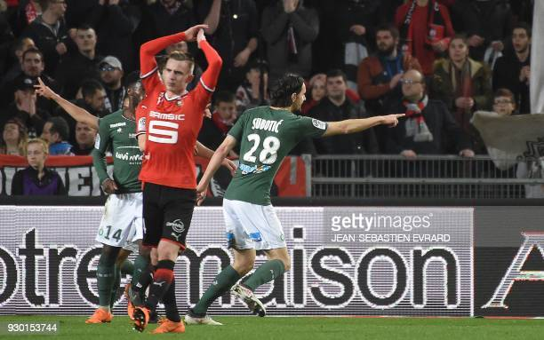 SaintEtienne's Serbian defender Neven Subotic celebrates after scoring during the French L1 football match between Rennes and SaintEtienne at The...