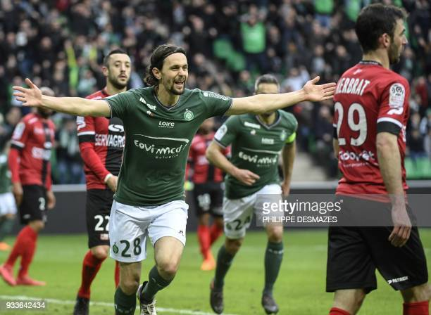 SaintEtienne's Serbian defender Neven Subotic celebrates after scoring a goal during the French L1 football match between AS SaintEtienne and EA...