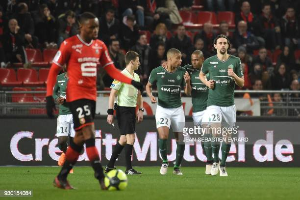 SaintEtienne's Serbian defender Neven Subotic reacts after a goal during the French L1 football match between Rennes and SaintEtienne on March 10...