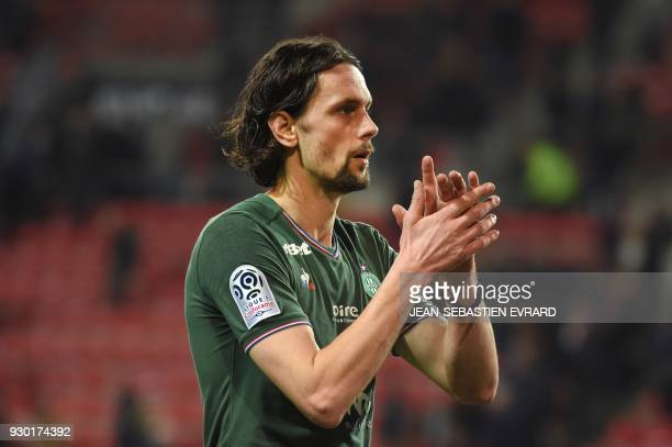 SaintEtienne's Serbian defender Neven Subotic reacts at the end of the French L1 football match between Rennes and SaintEtienne on March 10 2018 at...
