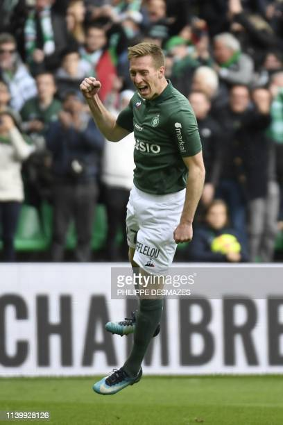SaintEtienne's Slovenian forward Robert Beric celebrates after scoring a goal during the French L1 football match between AS SaintEtienne and FC...