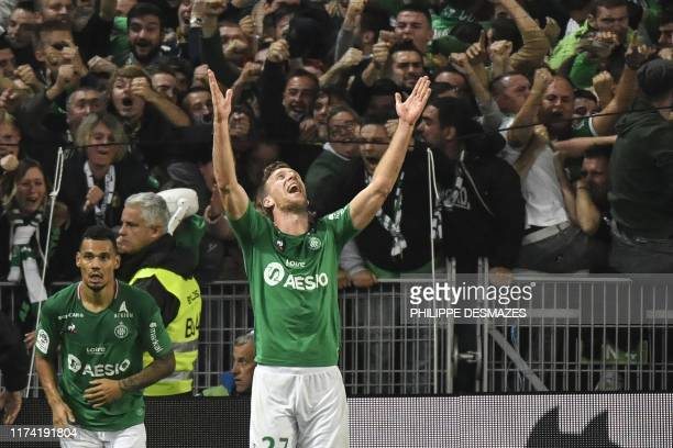 Saint-Etienne's Slovenian forward Robert Beric celebrates after scoring a goal during the French L1 football match between AS Saint-Etienne and...