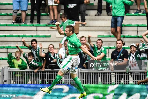 SaintEtienne's Slovenian forward Robert Beric celebrates after scoring a goal during the French L1 football match AS SaintEtienne vs Lille on...